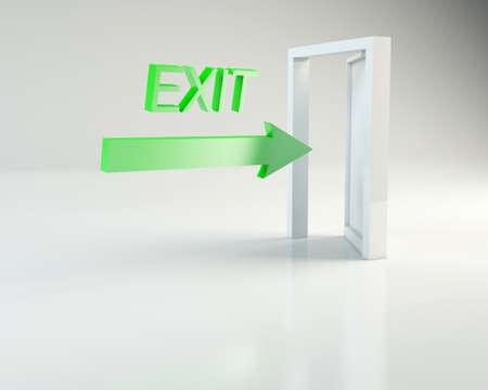 Door with arrow on exit