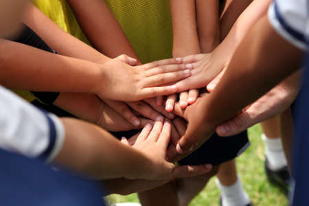 competition: group of young people s hands Stock Photo