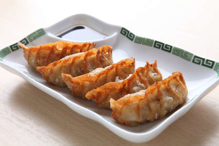 gyoza: gyoza on white plate Stock Photo
