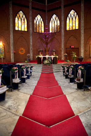 castle interior: church is ready for wedding Editorial