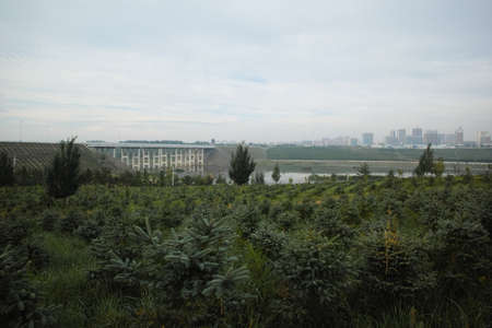 inner mongolia: Inner Mongolia River with building View Stock Photo