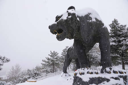tiger sculpture, snowfall at Inner Mongolia