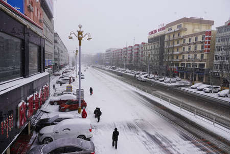 snowfall at Inner Mongolia Editorial