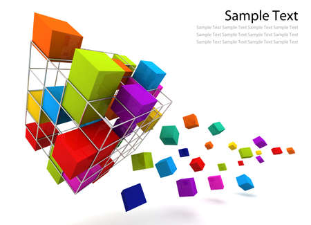 Extreme box rainbow color 3D render Stock Photo