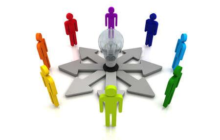 Human teamwork direction concept light bulb link colorful