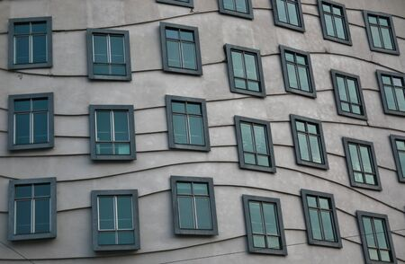 dancing house: Modern architecture - windows on the dancing house in prague