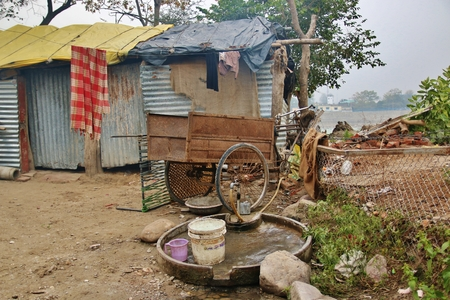 slum: slum of poor people in Rishikesh, India
