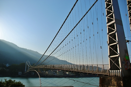 The bridge on river Ganga in RISHIKESH, INDIA