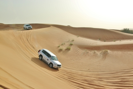 car in desert near Dubai, Arabian Emirates