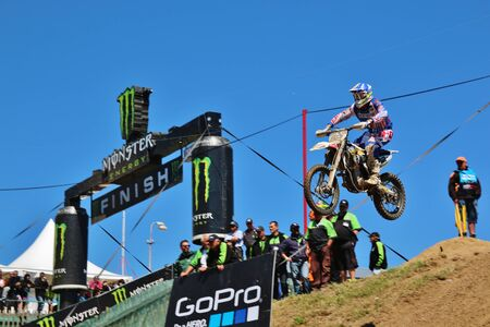 locket: Loket, Czech Republic: Motocross riders perform on the competes during the MXGP World Championship on July 26, 2015 in Locket, Czech Republic