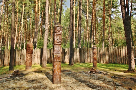 idolatry: The object of worship of the Slavic peoples in Siberia, Russia Stock Photo