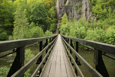 Wooden bridge - Footpath over a river