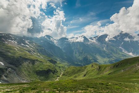 grossglockner: View from Grossglockner High Alpine Road on mountains in Alps, Austria, Europe Stock Photo