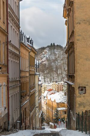 karlovy: Small narrow street of town Karlovy Vary in Czech Republic