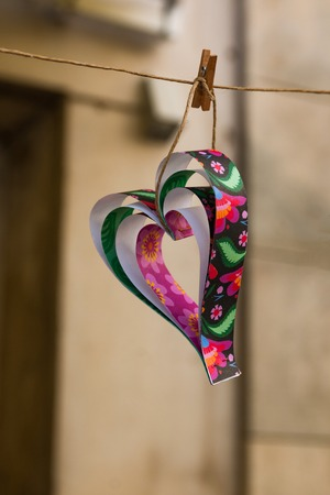 Colorful paper heart, handmade decoration in Valentines day