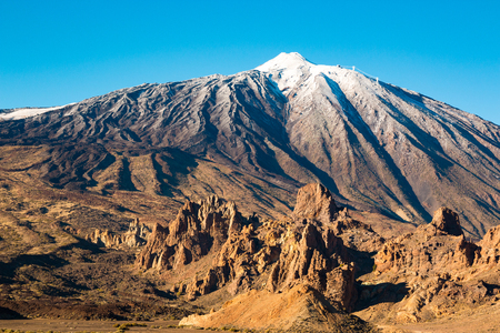 Teide National Park in winter time in Tenerife, Canary Islands, Spain