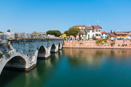 Old Bridge of Tiberius in the city of Rimini, Italy