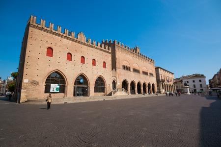 Facade of Rimini City Hall with statue on Cavour square in Rimini, Italy Editorial