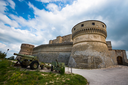 Medieval old fortress of in San Leo town of the Marche regions in Italy