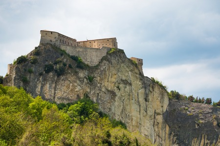 Medieval old fortress of in San Leo town on rock in the Marche regions in Italy