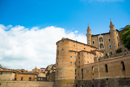 View of medieval castle in Urbino, Italy