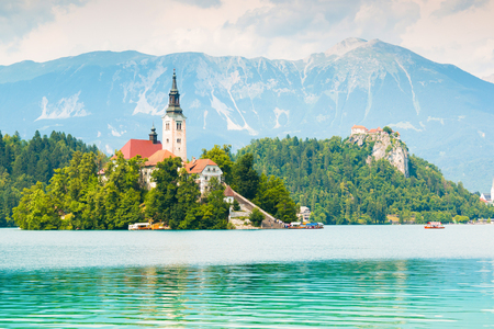 Lake Bled with St. Marys Church on small island in Bled
