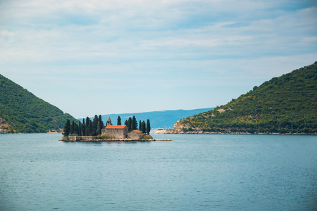 kotor: Church on Island in Kotor Fjord in Montenegro