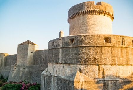 Minceta Tower and Dubrovnik medieval old town city walls in Croatia