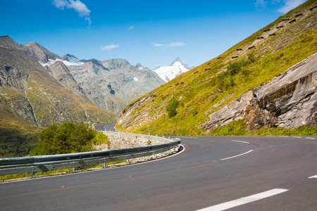 curve road: Country road to Grossglockner at the european alps in Austria Stock Photo