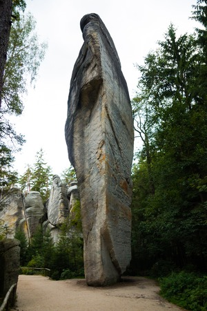 Unique rocks mountain Adrspasske skaly in national park Adrspach, Czech republic 版權商用圖片