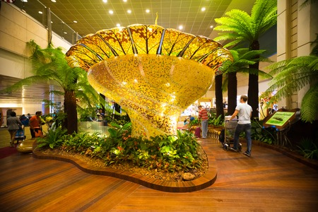 SINGAPORE, SINGAPURE - 12.11.2017: Decoration inside of Singapore Changi Airport in Singapure