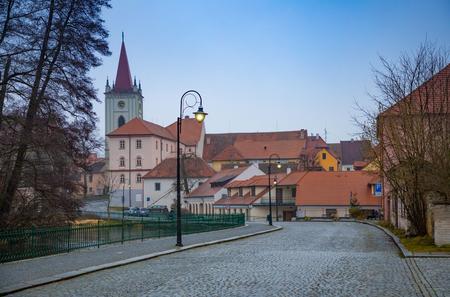 Small town Blatna on embankment of river Lomnice in Czech Republic Foto de archivo