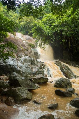 Affluent Waterfall in rain season on island Koh Samui, Thailand