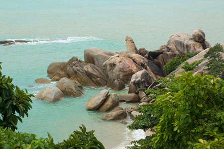 Hin Ta and Hin Yai Rocks or grandmother and grandfather rocks in Koh Samui