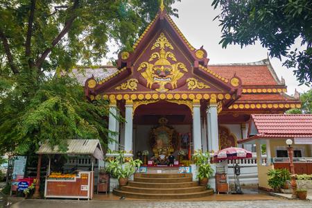 SAMUI, THAILAND - 06.11.2017: Mummified monk Loung Pordaeng in Wat Khunaram temple in Koh Samui in Thailand Editorial