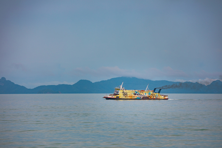 SAMUI, THAILAND - 5.11.2017: Yellow passenger ferry boat to Samui island Editorial