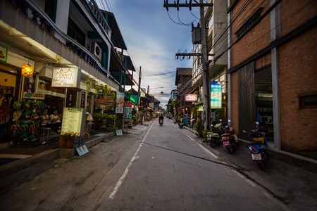BOPHUT, SUMUI, THAILAND - 9.11.2017: Night life on street of small Fishermans Village in Bophut on north coast of Koh Samui Editorial