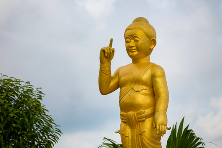 Temple in mountain with Gold Big Buddha is highest point of Koh Sumui