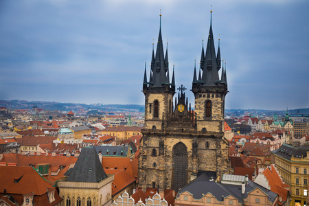 Church of Our Lady before Tyn on Old Town Square in Prague in evening time