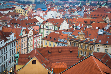 Red roofs of old town in evening time, Czech Republic