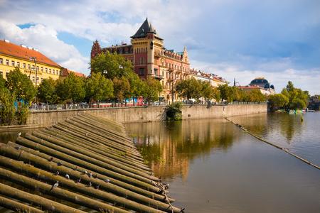 Building at Smetanovo Nabrezi on Vltava River, embankment in Prague Foto de archivo