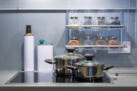 Modern kitchen at home with kitchenware Archivio Fotografico