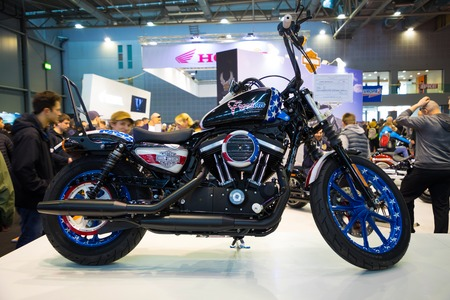 Prague, Czech Republic - 09.03.2018: Modern motorcycle on motorcycle exhebition in Brno Editorial