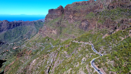Aerial View of Mountain road to Masca village on Tenerife, Spain Stock Photo