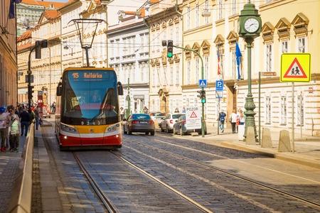 Prague, Czech Republic - 09.04.2018: Modern Tram at street in Old Town of Prague
