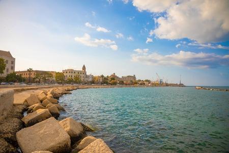 Bari, Italy - 5.05.2018: Embankment of small south town Bari at sunset time, Italy