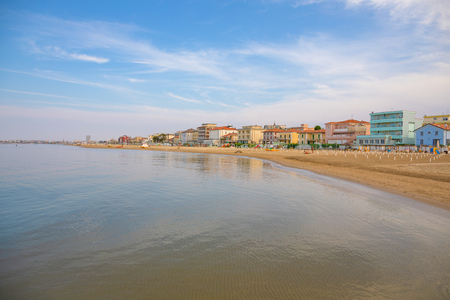 A beach in Adriatic sea in Rimini at sunset time, Italy Stock Photo