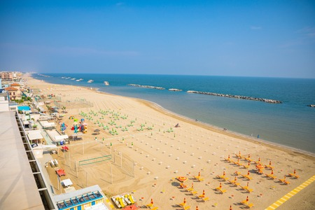 A beach in Adriatic sea in Rimini, aerial view from hotel Фото со стока