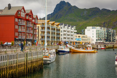 Svolvaer, Norway - 21.06.2018: Scenic view of Svolvaer is a fishing village and tourist town located on Austvagoya in the Lofoten Islands, Norway