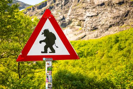 Sirgn Beware of trolls on trollstigen road in Norway Reklamní fotografie